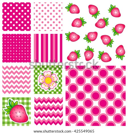 Hello summer. Bright strawberry and flat pattern. Design for fabric textile, kitchen design, summer clothes. Dots pattern. Zigzag pattern. Lines pattern. Set seamless pattern - stock vector
