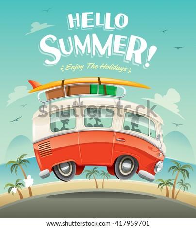 Hello summer! Camper van. Summer vacation.  - stock vector