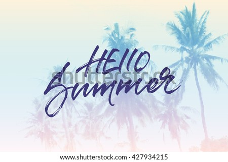 Hello Summer card design. Tropical palms vintage halftone background for summer special offer promo cards, banners and t-shirt design. Handwritten brush lettering. - stock vector