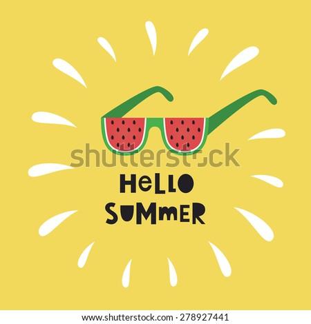 hello summer card design. vector illustration - stock vector