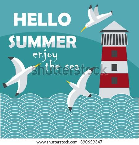 Hello Summer Cartoon Card Seagull Lighthouse Stock Vector 390659347 - Shutter...