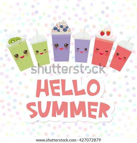 Hello Summer  Choose your smoothies. card design Takeout kiwi strawberry raspberry blueberry smoothie transparent plastic cup with straw and whipped cream on white background. Vector - stock vector
