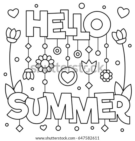 Hello Summer Coloring Page Vector Illustration