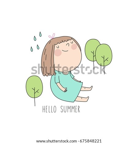 Attrayant Hello Summer. Cool Card With Cute Girl