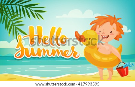 Hello Summer Cute Banner With Baby. Funny Baby Character Design.