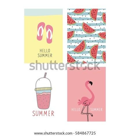 Hello Summer Vector Print Stock Vector 383666689 - Shutterstock