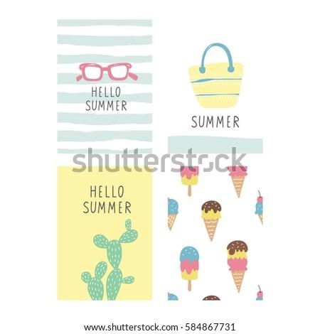 Cute Summer Vector Print Card Stock Vector 419303740 - Shutterstock