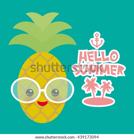 Hello Summer Cute Funny Kawaii Exotic Fruit Pineapple With Sunglasses. Hot  Summer Day, Pastel