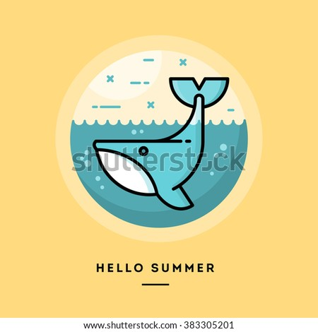 Hello Summer, Cute Whale,, Flat Design Thin Line Banner, Usage For E