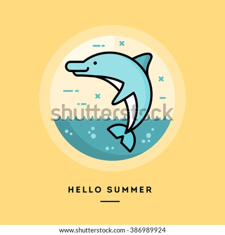 Hello Summer, Flat Design Thin Line Banner, Usage For E Mail Newsletters,