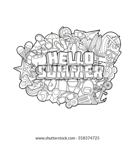 Hello Summer - Hand Lettering and Doodles Elements Sketch Isoleted