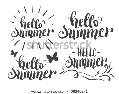 Hello Summer Hand Lettering Set. Typography Poster Or Card Design Template.  Modern Calligraphy Quote
