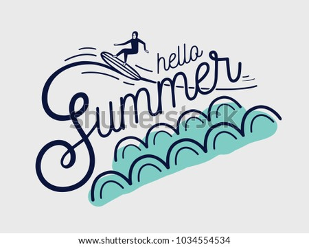 Hello Summer Hand Lettering Written With Creative Cursive Font And Decorated Surfer Surfing Waves