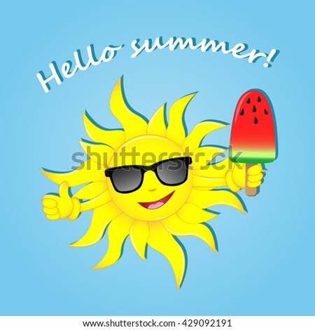 Hello Summer. Happy Summer. Vector Illustration. The Image Of The Sun In  Glasses