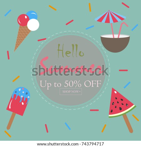 Captivating Hello Summer Holiday Card. Up To 50% Off. Shop Now. Vector Illustration