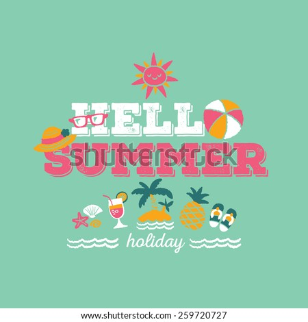 Hello Summer Holiday Freehand Drawing Vector Stock