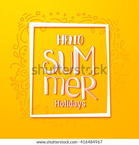 Hello Summer Holidays Card Design With Doodle Linear Elements. Season Tag,  Vector Banner.