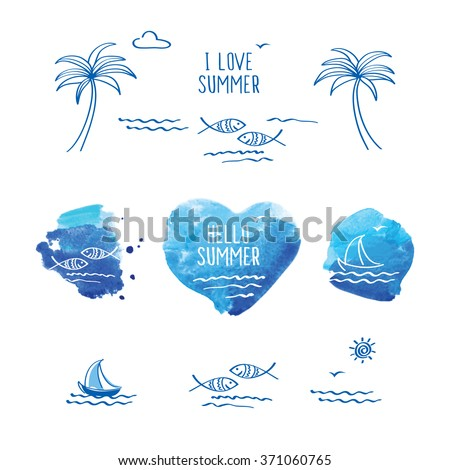 Hello summer. I love summer. Symbol of summer. Blue watercolor heart. Palm trees, sun, sea, fish and heart for your design.  Doodles, sketch. Vector illustration - stock vector