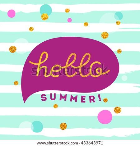 Hello summer illustration - stock vector