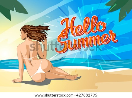 Hello summer lettering and Woman Sitting on Sand of the Sea Beach and Takes Sunbath.  - stock vector