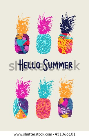 Hello summer lettering concept design, pineapple fruit with happy vibrant colors and retro 80s style art elements. EPS10 vector. - stock vector