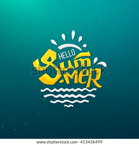 Hello Summer logo with abstract sun and sea doodle design. Vector illustration for season banner, label, poster.