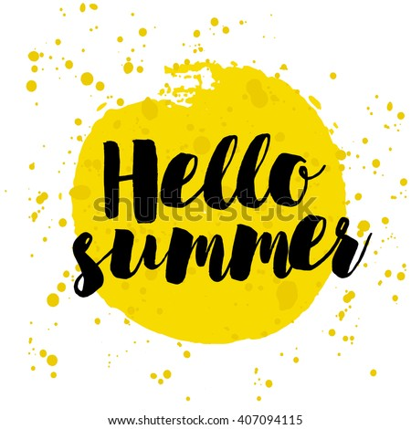 Hello Summer on watercolor. Summer Time logo Templates. Isolated Typographic Design Label. Summer Holidays lettering for invitation, greeting card, prints and posters. Enjoy The Beach party - stock vector
