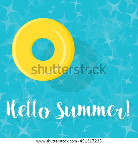Hello Summer! Pool Ring Floating in Blue Water Illustration - eps10
