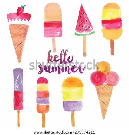 Hello Summer Print Design - stock vector