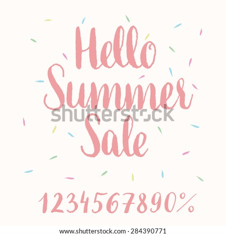 Hello Summer Sale - hand-lettering - stock vector