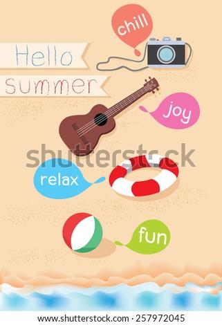 Hello summer set object - stock vector