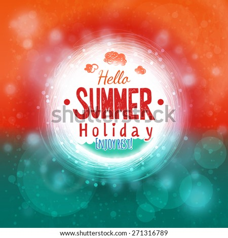 Hello Summer Sky And Sea Drawing Card. Abstract Holiday Label Design.  Invitation Element. Great Pictures