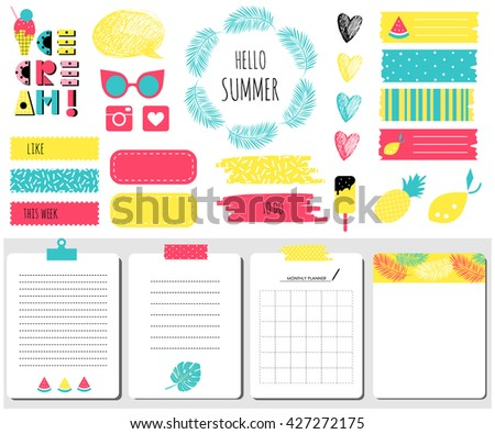 Hello summer Sticker, icons, signs for organized your organizer. Monthly Planner set. Template for notebooks, scrapbooking, wrapping, invitation, cards, poetry notes, diary. Fruits, palm, sunglasses - stock vector