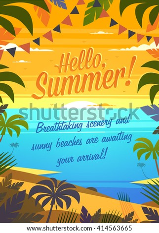 Hello, Summer! Summertime quote. Summer Holidays poster, background with tropical island, sandy beach, palms and the ocean. Vector illustration. - stock vector