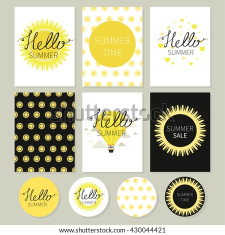 Hello summer.  Sun. Love. Calligraphy. Lettering. Cute romantic vector cards, posters, stickers.