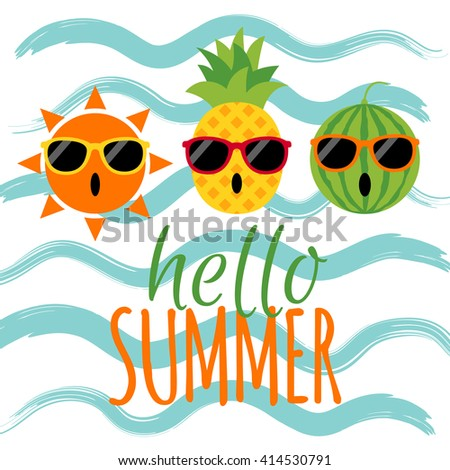 Hello Summer Text With Sun, Pineapple, Watermelon And Wave Background. Funny  Character Summer