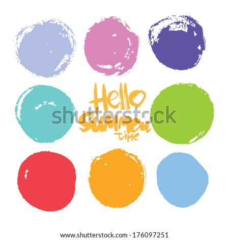 hello summer time. colors set. vector blots - stock vector
