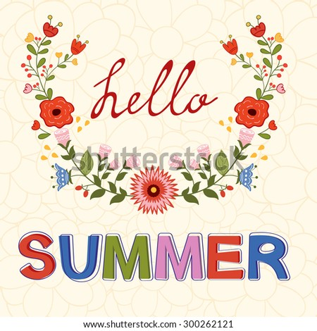Hello summer typography on floral background in vector format - stock vector