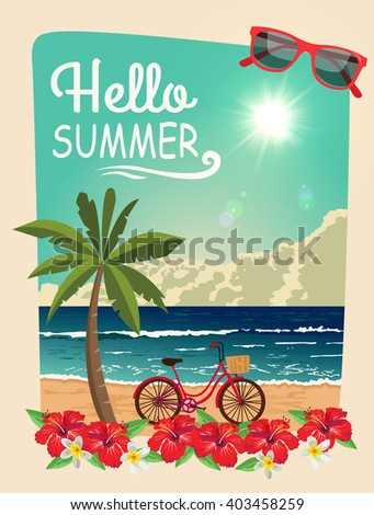 Hello Summer. Vector summer design. - stock vector