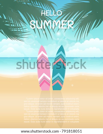 Hello Summer With Colorful Surfboard On The Beach With Sea, Sun And Clear  Blue Sky