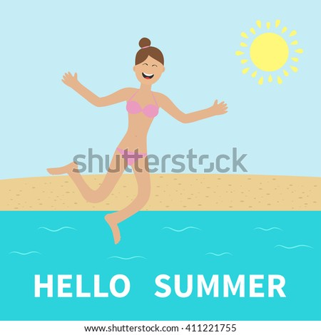 Hello summer. Woman wearing swimsuit jumping.  Sun, beach, sea, ocean. Happy girl jump. Cartoon laughing character in pink swimming suit. Smiling woman in bikini bathing suit.  Flat design Vector  - stock vector