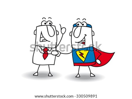 Hello superhero. A businessman and a superhero shaking hands. It's ok ! I swear to you ! - stock vector