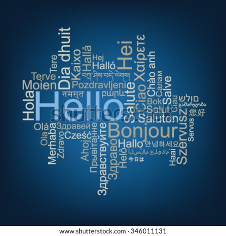 Hello Tag Cloud in different languages - stock vector