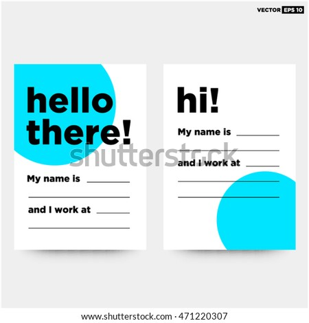 Hello there my name business card stock vector 471220307 shutterstock hello there my name is business card art vector illustration in flat style design colourmoves