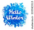 Hello winter abstract background design with snowflakes and snow. - stock vector