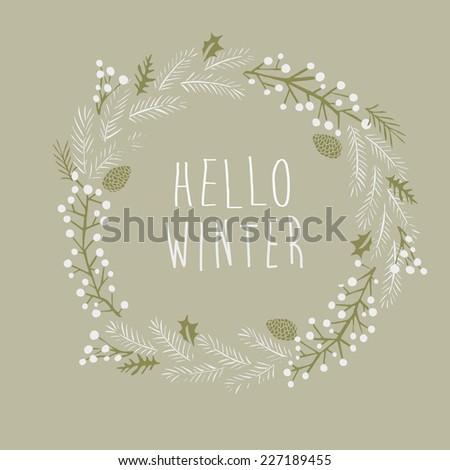 Hello Winter Greeting Card - stock vector