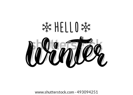 Hello Winter handlettering inscription. Winter logos and emblems for invitation, greeting card, t-shirt, prints and posters. Hand drawn winter inspiration phrase. Vector illustration