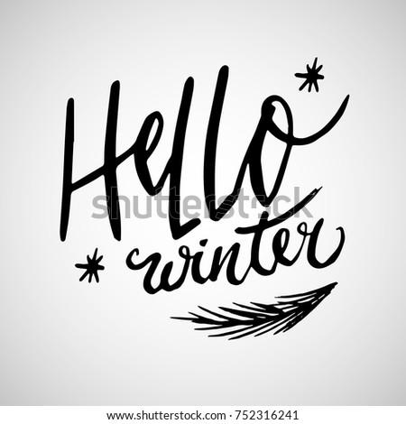 Hello winter handlettering inscription winter logos stock vector hello winter handlettering inscription winter logos and emblems for invitation greeting card t m4hsunfo