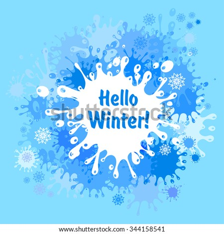 Hello Winter Holiday Greeting Card Design. Abstract Blue Background. Vector  Illustration
