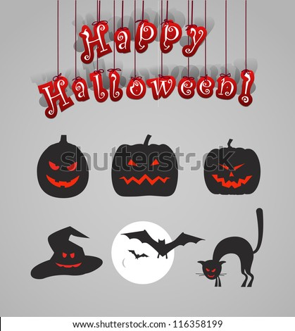 Helloween silhouettes clip-art - stock vector